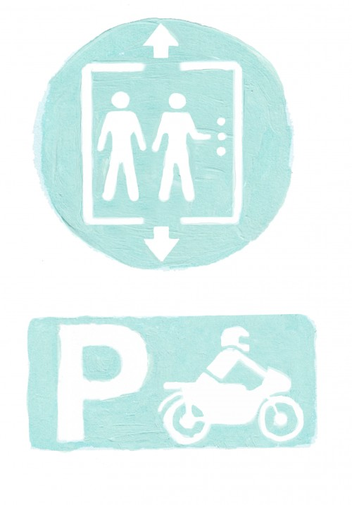 icons lift and motorcycle parking
